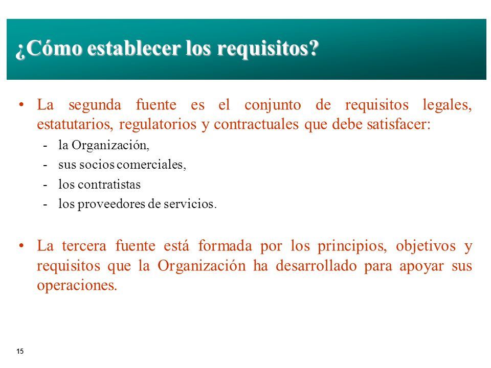¿Cómo establecer los requisitos