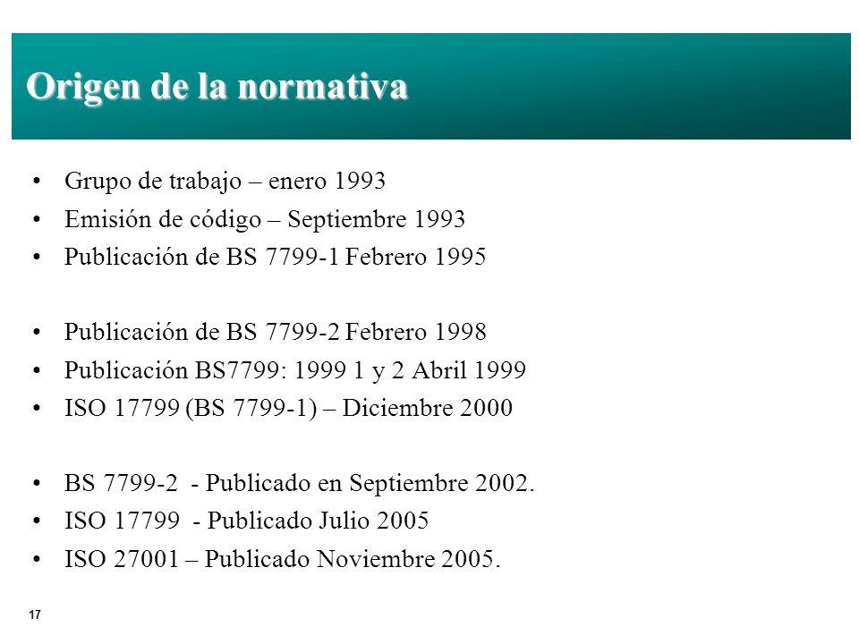Origen de la normativa Grupo de trabajo – enero 1993