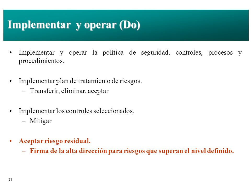 Implementar y operar (Do)