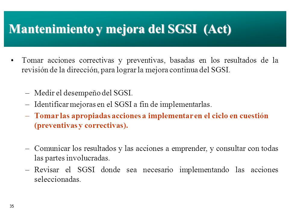 Mantenimiento y mejora del SGSI (Act)