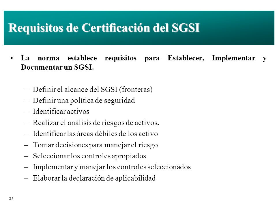 Requisitos de Certificación del SGSI