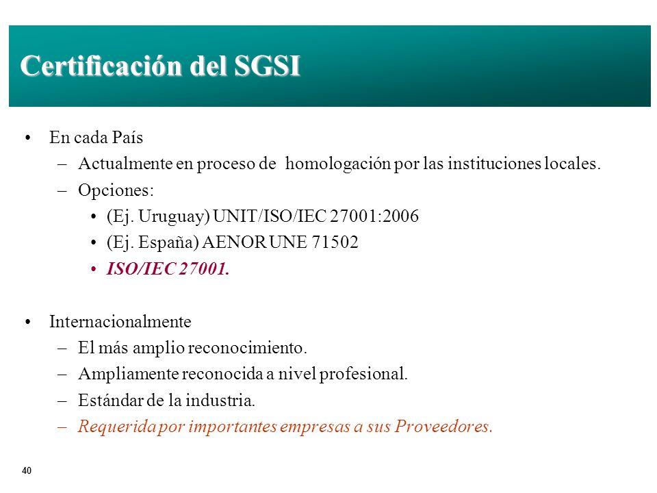 Certificación del SGSI
