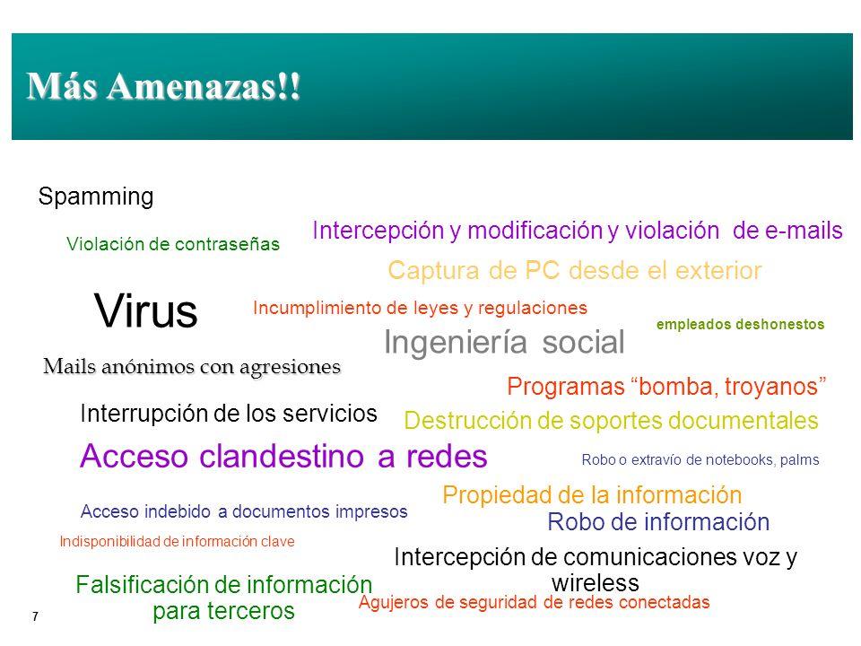 Virus Más Amenazas!! Ingeniería social Acceso clandestino a redes