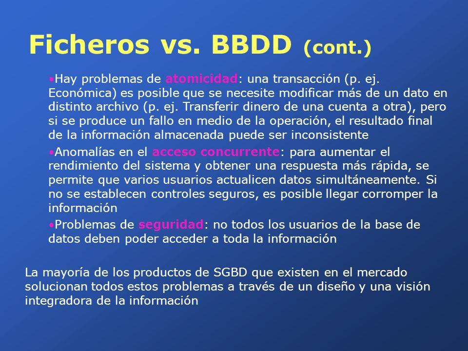 Ficheros vs. BBDD (cont.)