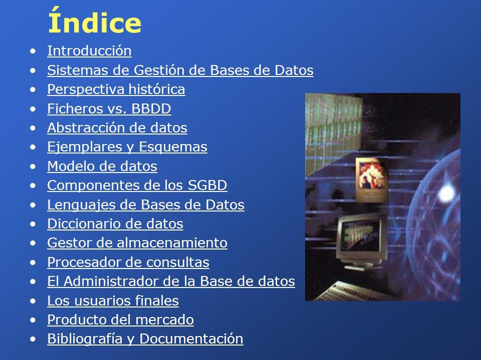 Índice Introducción Sistemas de Gestión de Bases de Datos