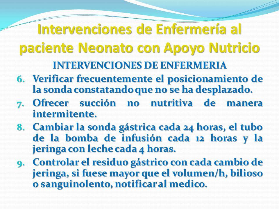 Intervenciones de Enfermería al paciente Neonato con Apoyo Nutricio