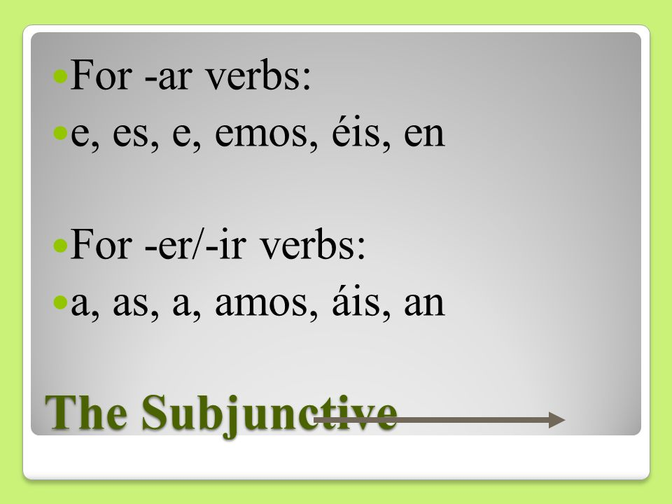 The Subjunctive For -ar verbs: e, es, e, emos, éis, en