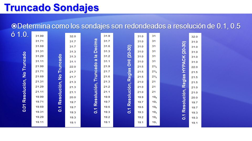 Truncado Sondajes Determina como los sondajes son redondeados a resolución de 0.1, 0.5 ó 1.0. 0.01 Resolución, No Truncado.