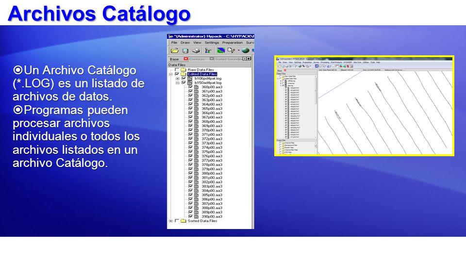 Archivos Catálogo Un Archivo Catálogo (*.LOG) es un listado de archivos de datos.