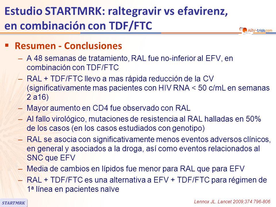 Estudio STARTMRK: raltegravir vs efavirenz, en combinación con TDF/FTC