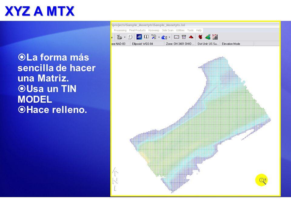 XYZ A MTX La forma más sencilla de hacer una Matriz. Usa un TIN MODEL