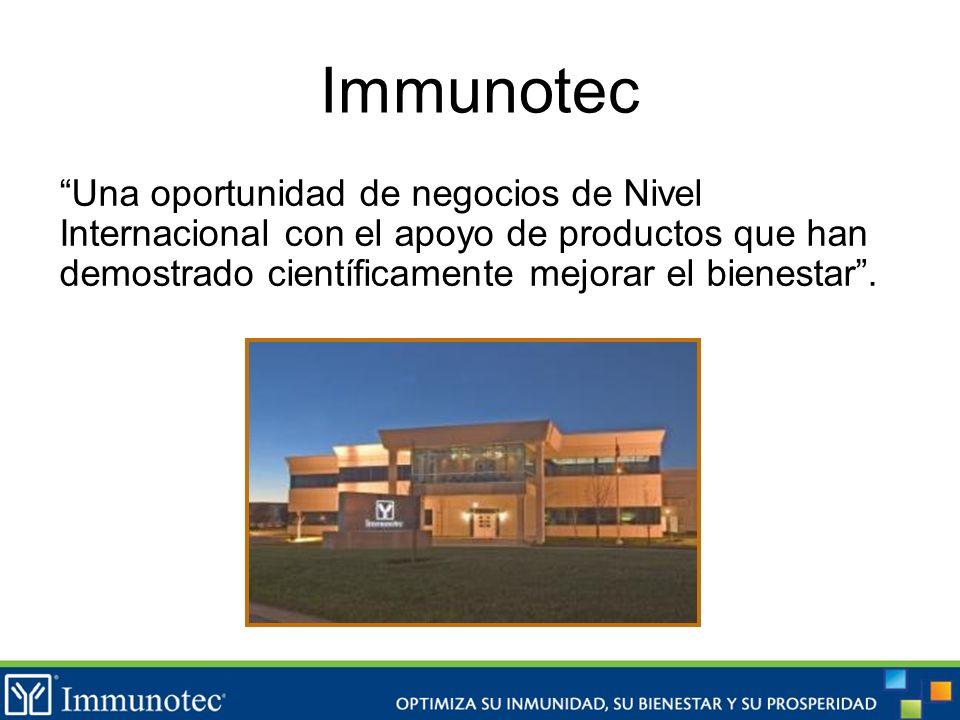 Immunotec Una oportunidad de negocios de Nivel Internacional con el apoyo de productos que han demostrado científicamente mejorar el bienestar .