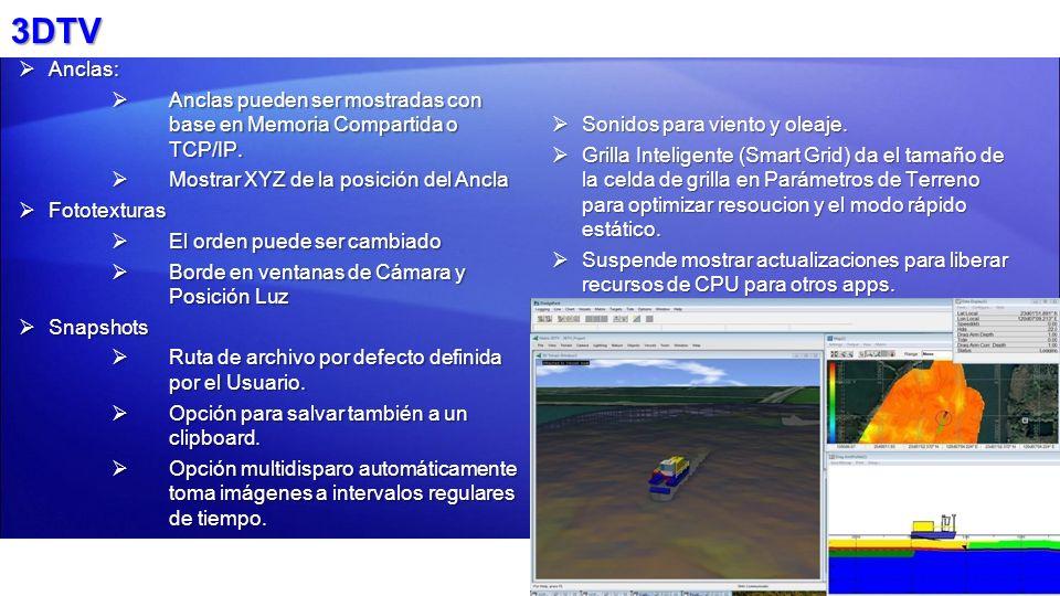 3DTV Anclas: Anclas pueden ser mostradas con base en Memoria Compartida o TCP/IP. Mostrar XYZ de la posición del Ancla.