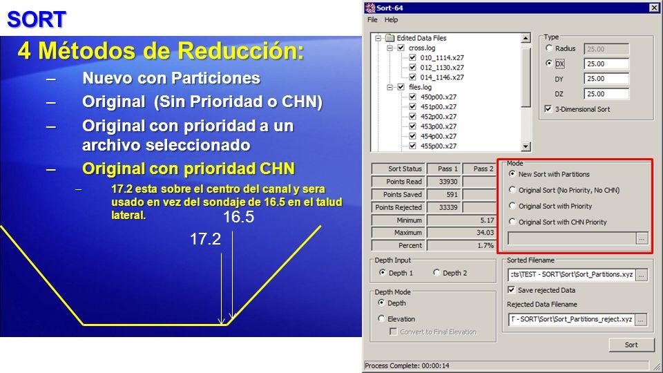 4 Métodos de Reducción: SORT Nuevo con Particiones