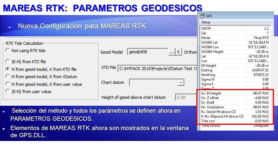 MAREAS RTK: PARAMETROS GEODESICOS
