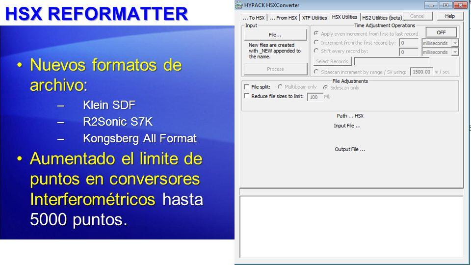 HSX REFORMATTER Nuevos formatos de archivo:
