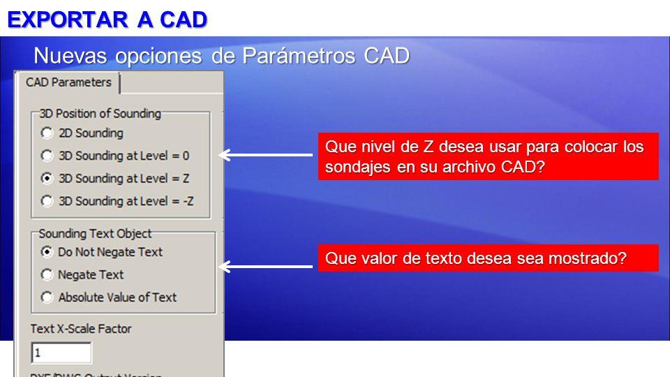 Nuevas opciones de Parámetros CAD