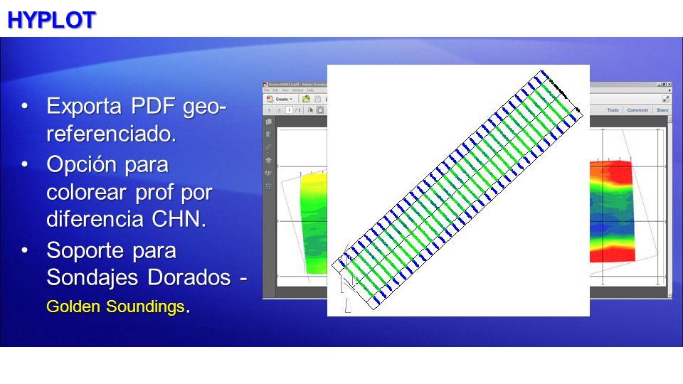 HYPLOTExporta PDF geo- referenciado.Opción para colorear prof por diferencia CHN.