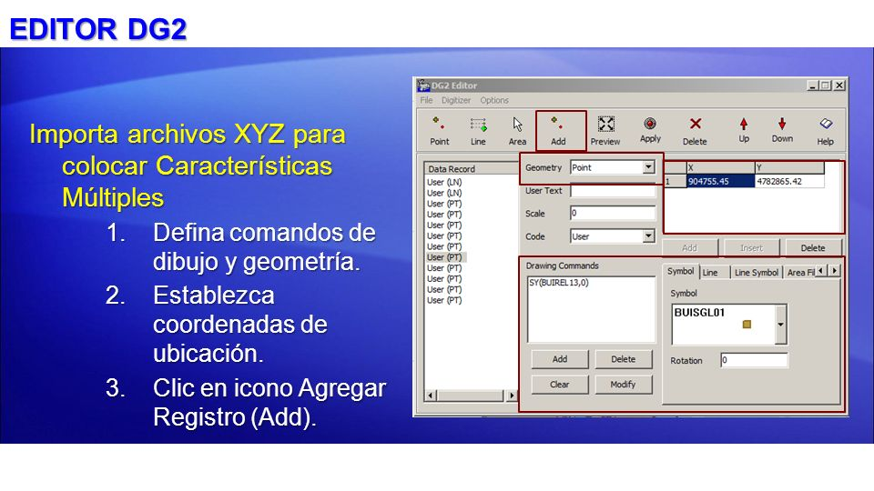 EDITOR DG2 Importa archivos XYZ para colocar Características Múltiples