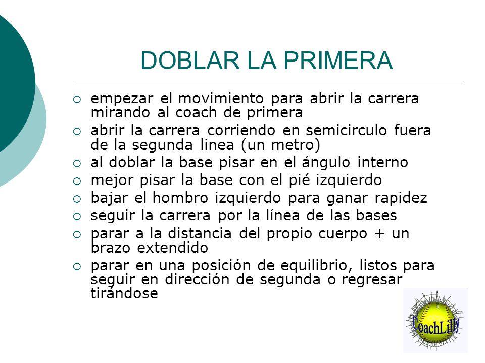 DOBLAR LA PRIMERA empezar el movimiento para abrir la carrera mirando al coach de primera.