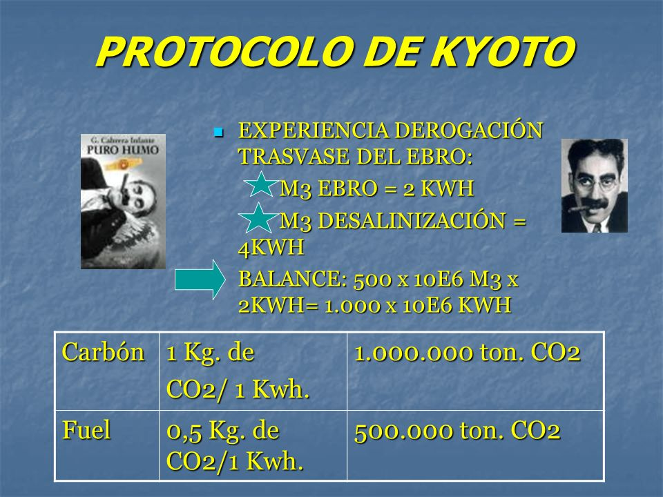 PROTOCOLO DE KYOTO Carbón 1 Kg. de CO2/ 1 Kwh. 1.000.000 ton. CO2 Fuel