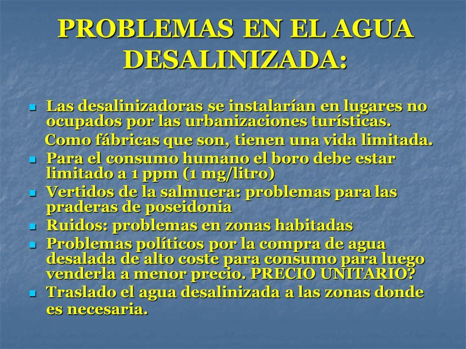 PROBLEMAS EN EL AGUA DESALINIZADA: