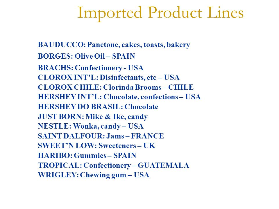 Imported Product Lines