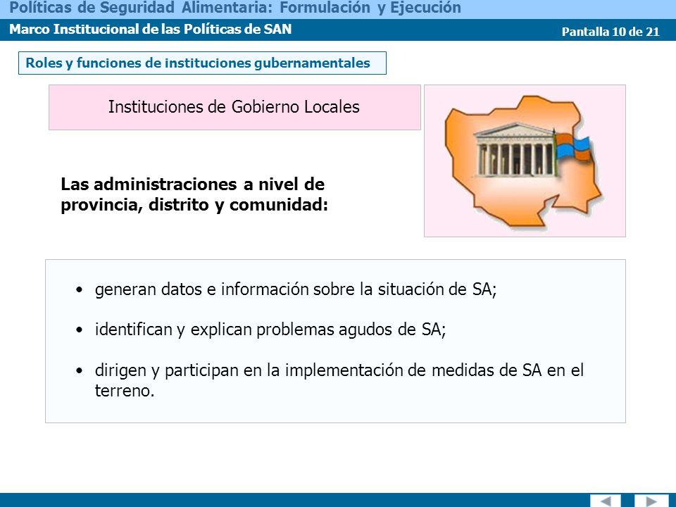 Instituciones de Gobierno Locales