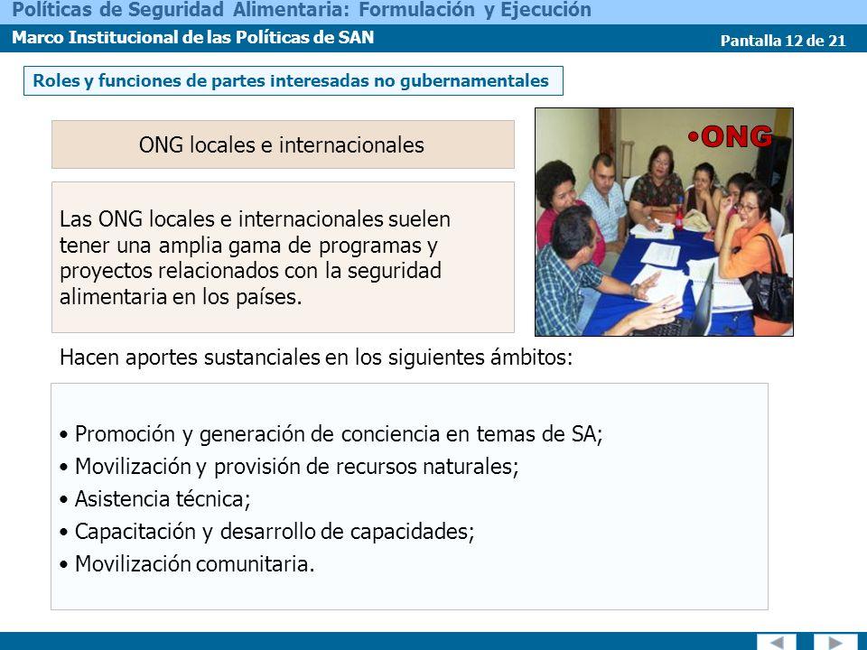 ONG locales e internacionales