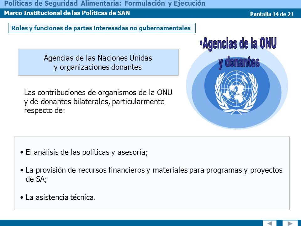 Agencias de la ONU y donantes