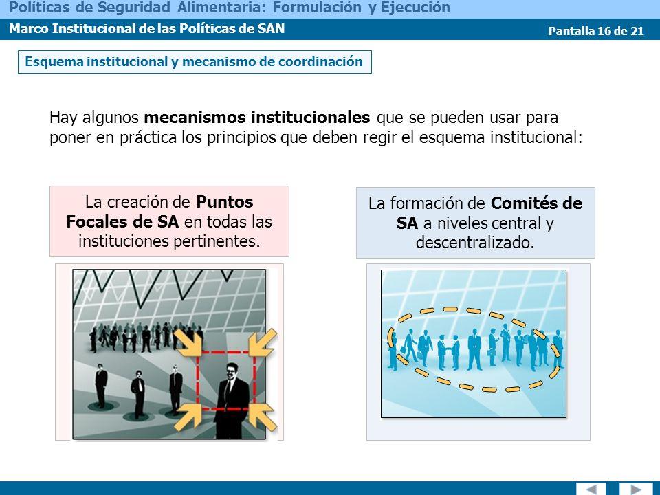 La formación de Comités de SA a niveles central y descentralizado.