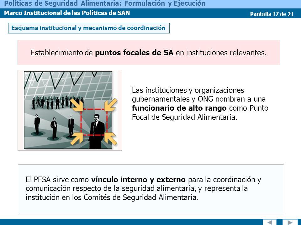 Establecimiento de puntos focales de SA en instituciones relevantes.