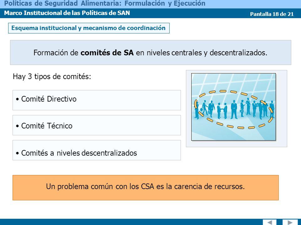Formación de comités de SA en niveles centrales y descentralizados.
