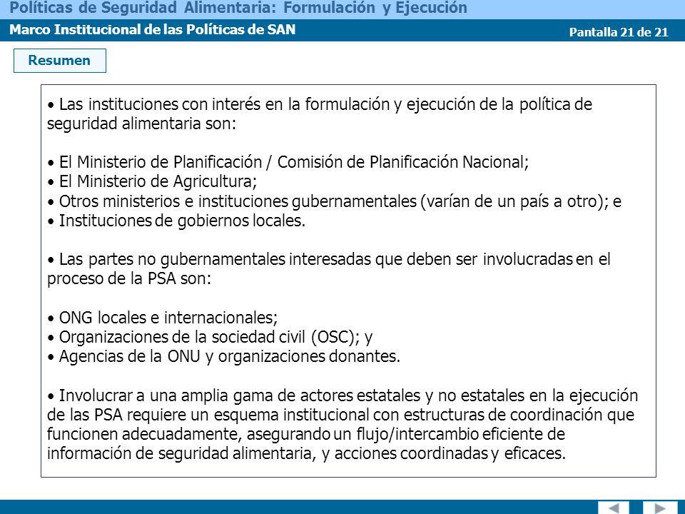 El Ministerio de Planificación / Comisión de Planificación Nacional;