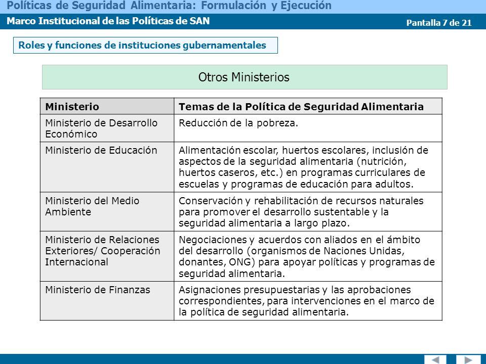 Otros Ministerios Roles y funciones de instituciones gubernamentales