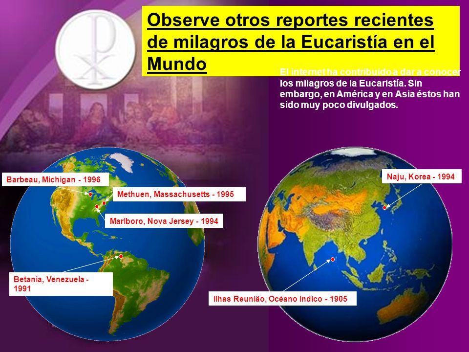 Observe otros reportes recientes de milagros de la Eucaristía en el Mundo