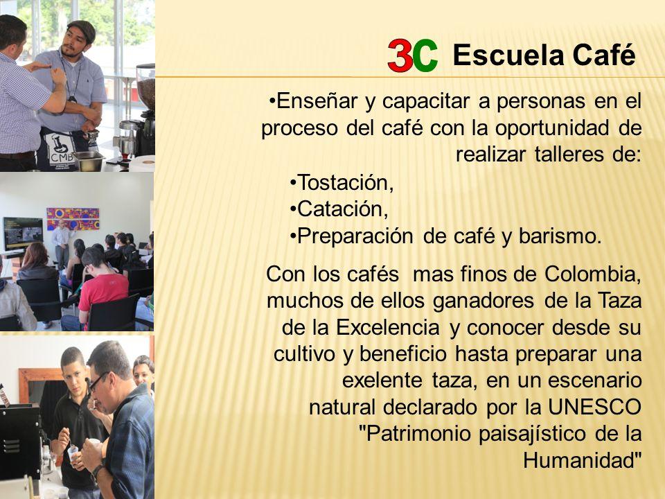 Escuela Café 3. c. Enseñar y capacitar a personas en el proceso del café con la oportunidad de realizar talleres de: