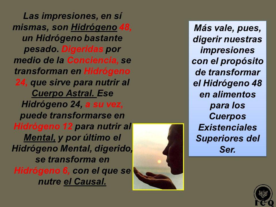 Las impresiones, en sí mismas, son Hidrógeno 48, un Hidrógeno bastante pesado. Digeridas por medio de la Conciencia, se transforman en Hidrógeno 24, que sirve para nutrir al Cuerpo Astral. Ese Hidrógeno 24, a su vez, puede transformarse en Hidrógeno 12 para nutrir al Mental, y por último el Hidrógeno Mental, digerido, se transforma en Hidrógeno 6, con el que se nutre el Causal.