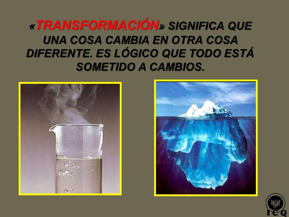 «TRANSFORMACIÓN» SIGNIFICA QUE UNA COSA CAMBIA EN OTRA COSA DIFERENTE