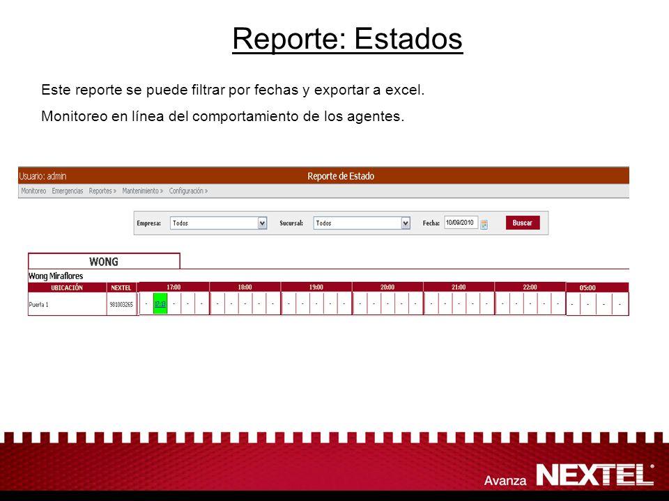 Reporte: Estados Este reporte se puede filtrar por fechas y exportar a excel.