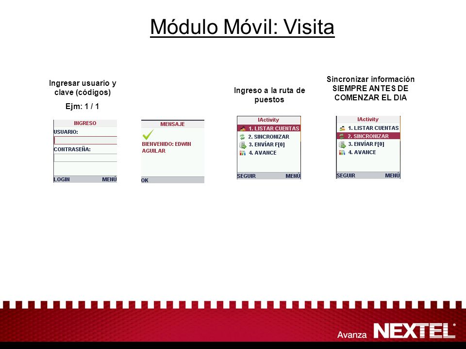 Módulo Móvil: Visita Sincronizar información SIEMPRE ANTES DE COMENZAR EL DIA. Ingresar usuario y clave (códigos)