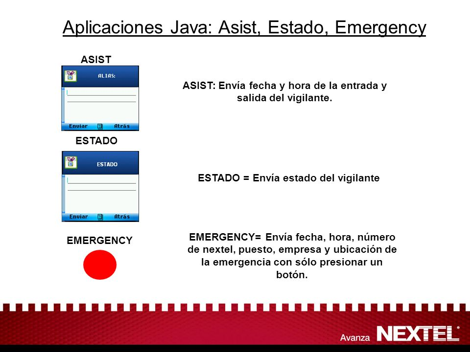 Aplicaciones Java: Asist, Estado, Emergency