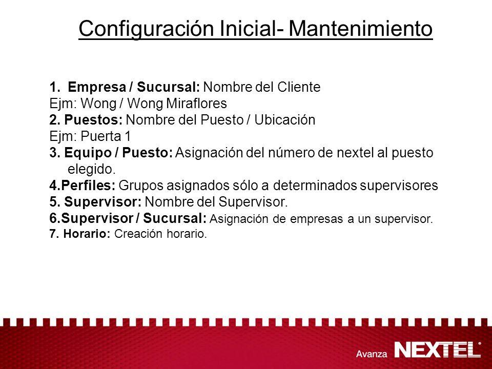 Configuración Inicial- Mantenimiento