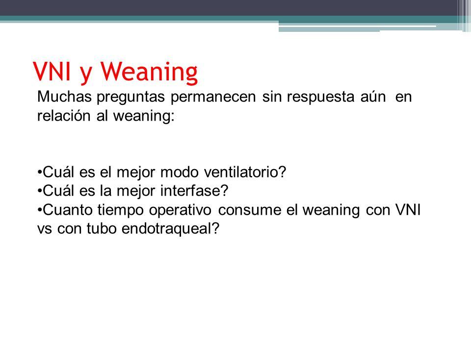 VNI y Weaning Muchas preguntas permanecen sin respuesta aún en relación al weaning: Cuál es el mejor modo ventilatorio