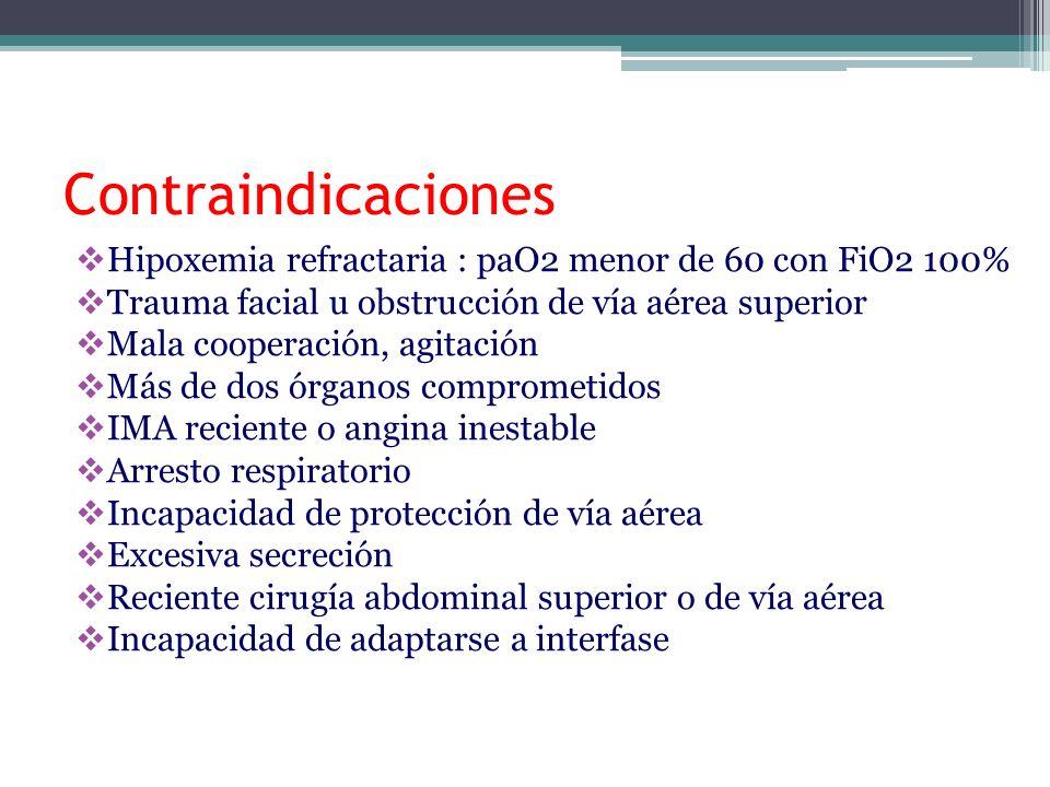 Contraindicaciones Hipoxemia refractaria : paO2 menor de 60 con FiO2 100% Trauma facial u obstrucción de vía aérea superior.