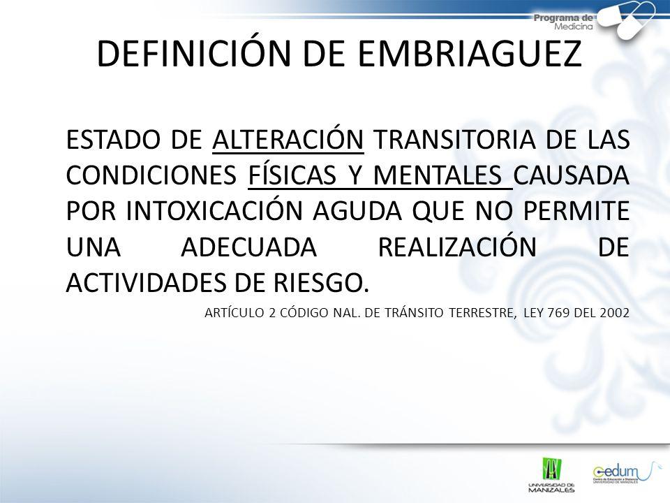 DEFINICIÓN DE EMBRIAGUEZ