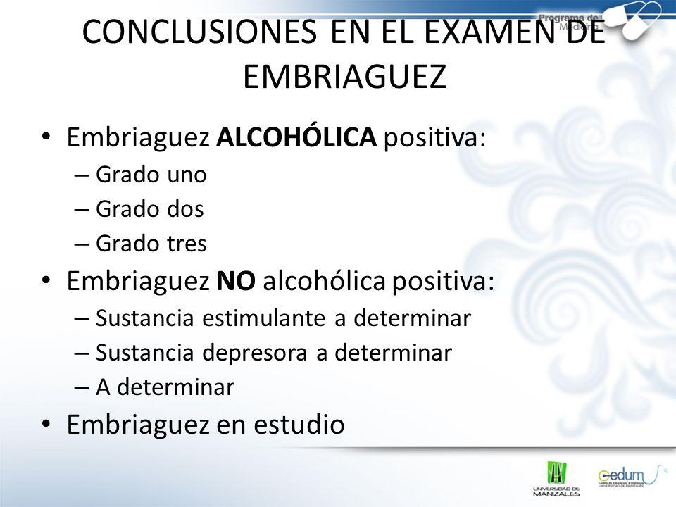 CONCLUSIONES EN EL EXAMEN DE EMBRIAGUEZ