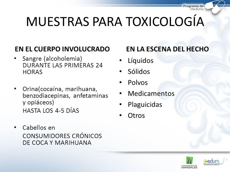 MUESTRAS PARA TOXICOLOGÍA