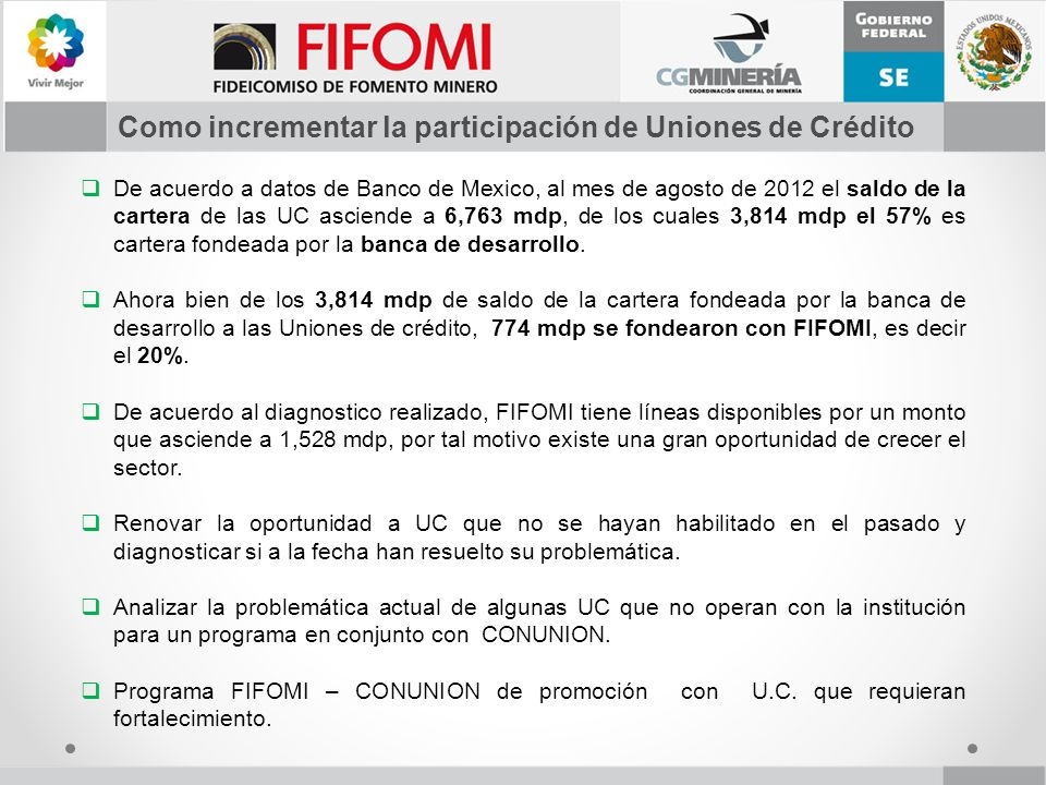 Como incrementar la participación de Uniones de Crédito