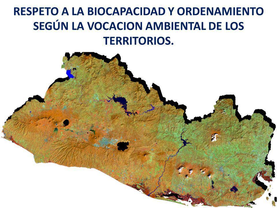 RESPETO A LA BIOCAPACIDAD Y ORDENAMIENTO SEGÚN LA VOCACION AMBIENTAL DE LOS TERRITORIOS.